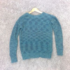 Teal Chunky Sweater with open back